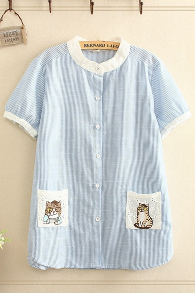 Cat Embroidered Lace Pockets Stripe Contrasted Short Sleeve Crew Neck Button up Loose Fit Popular Shirt in Blue