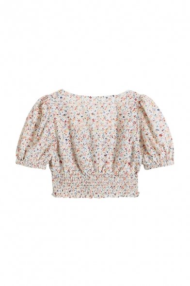 Chic Girls Ditsy Floral Printed Ruched Pleated V Neck Short Puff Sleeve Slim Fit Crop Blouse Top