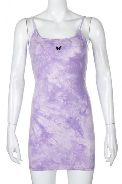 Chic Purple Tie Dye Butterfly Print Spaghetti Straps Short A-line Cami Dress for Women