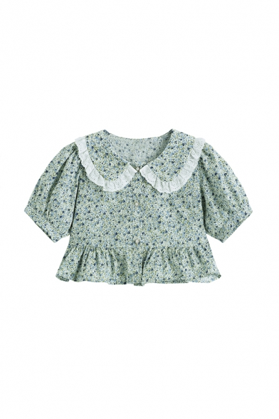 Cute Girls Ditsy Floral Printed Button Down Ruffle Cuff Lace Trim Peter Pan Collar Short Puff Sleeve Regular Fit Crop Shirt in Blue