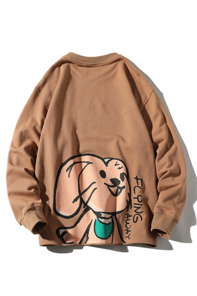 Fashionable Rabbit Printed Long Sleeve Crew Neck Loose Fit Pullover Sweatshirt for Guys