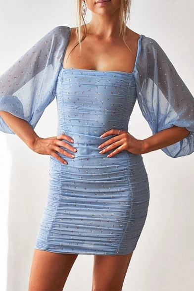 Glamorous Ladies Sheer Mesh Ditsy Floral Pattern Blouson Sleeve Square Neck Ruched Mini Tight Dress in Blue