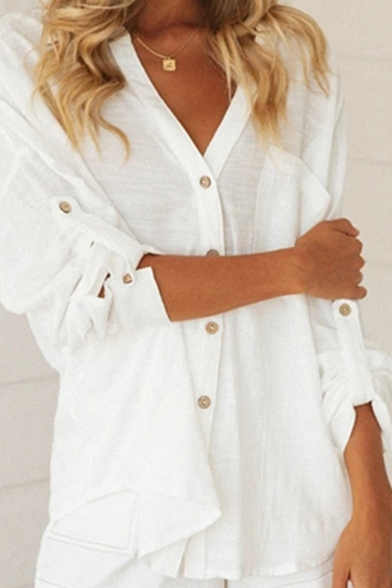 Leisure Plain Rolled Sleeves V-neck Button down Relaxed Shirt Top for Women