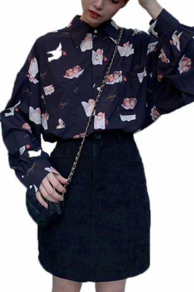 Novelty Girls Allover Angel Pattern Long Sleeve Point Collar Button-down Chest Pockets Relaxed Shirt