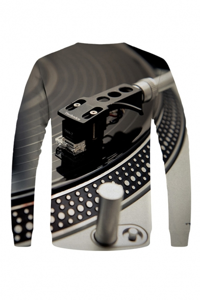 Trendy 3D Visual Deception DVD Pattern Pullover Long Sleeve Round Neck Fitted Sweatshirt for Men
