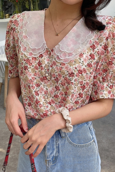 Adorable Girls Ditsy Floral Printed Short Sleeve Mesh Patched Peter Pan Collar Pearl Button Relaxed Chiffon Shirt in Pink