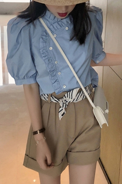 Blue Chic Stringy Selvedge Puff Sleeve Asymmetric Crew Neck Button up Loose Shirt Top for Girls