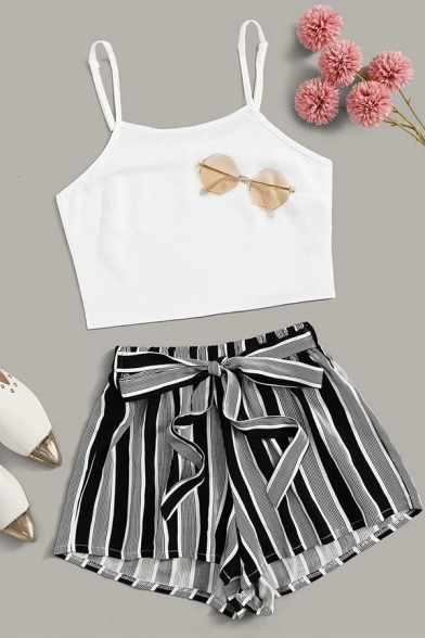 Chic Womens Spaghetti Straps Fit Crop Cami & Striped Bow Tied Waist Relaxed Shorts Set in White