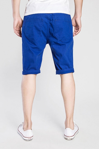 Creative Mens Plain Zip-fly Button Distressed Knee Length Slim Fit Shorts with Pocket