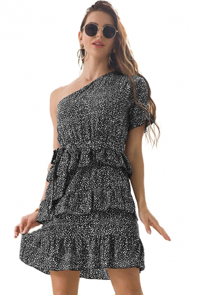 Fashion Womens Ditsy Floral Printed Bell Sleeve Oblique Shoulder Bow Tied Waist Ruffled Short Pleated A-line Dress