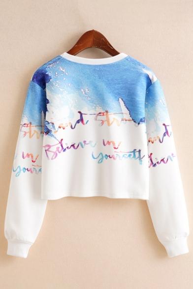 Fashionable Womens Cartoon Print Colorblock Long Sleeve Crew Neck Relaxed Crop Pullover Sweatshirt