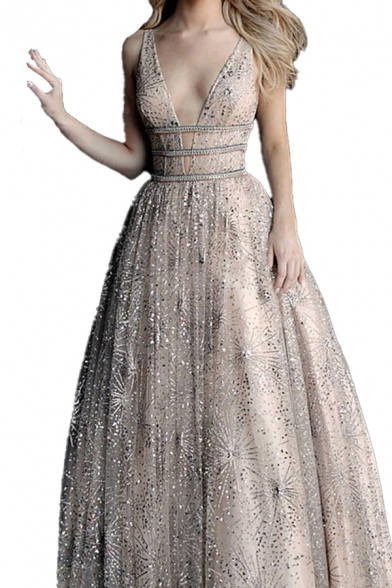 Glamorous Womens Sequins Deep V-neck Sleeveless Backless Maxi Pleated Flared Tank Prom Dress in Brown