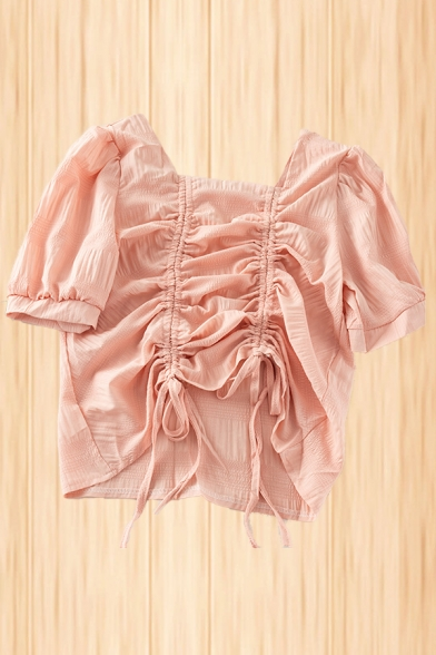 Lovely Ladies Chiffon Solid Color Drawstring Front Short Sleeve Square Neck Slim Fit Blouse Top