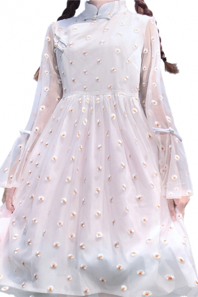 New Girls Chinese Stylish Button Mesh Patchwork Ditsy Floral Embroidery Print Pleated Stand Neck Long Flare Cuff Sleeve Midi A Line Dress in White