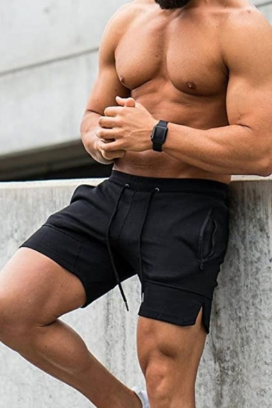 Solid Color Split Cuff Drawstring Zipper Pockets Slim Fitted Shorts in Black