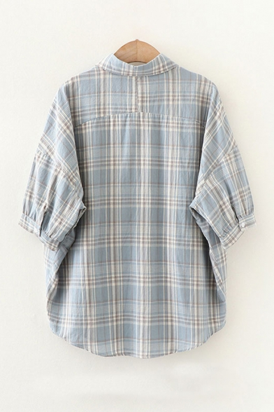 Stylish Letter Optimistic Daisy Floral Embroidered Half Sleeve Turn-down Collar Plaid Print Curved Hem Relaxed Shirt Top