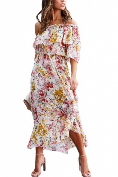Vacation Womens Allover Floral Print Single Sleeve Off the Shoulder Ruffled Asymmetric Hem Long A-line Dress in White