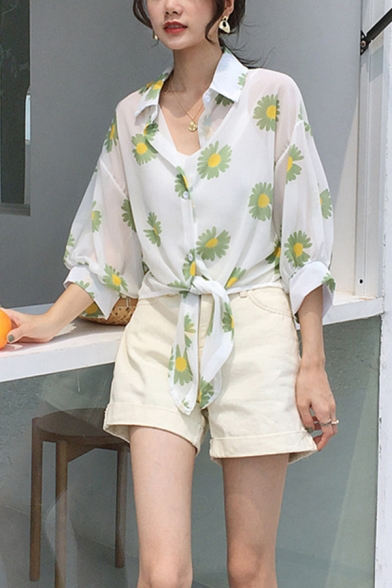Womens Stylish Allover Daisy Floral Print Long Sleeve Spread Collar Button up Tied Hem Relaxed Shirt Top
