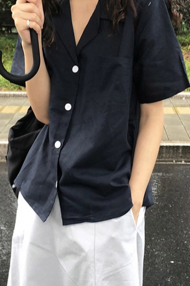 Basic Navy Short Sleeve Lapel Neck Button-up Relaxed Fit Shirt for Girls, LM649517