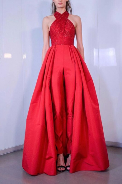 Boutique Ladies Sequined Criss Cross Halter Open Back Maxi Pleated Swing Pageant Dress in Red