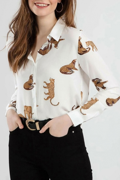 Chic Allover Leopard Print Long Sleeve Turn down Collar Button up Relaxed Shirt Top