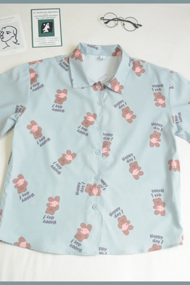 Chic Womens Letter Happy Day Toy Bear Printed Button Down Collar Short Sleeve Relaxed Fit Graphic Shirt in Green