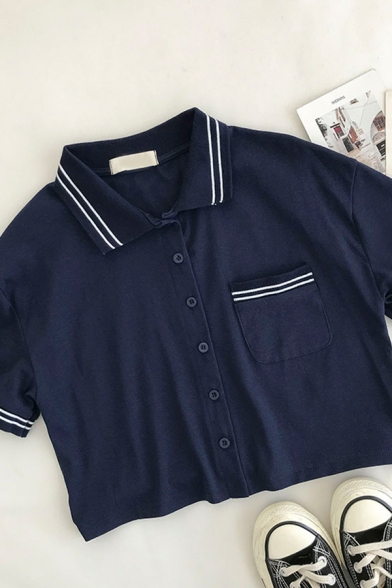 Cool Sports Womens Pocket Striped Patchwork Button Down Collar Short Sleeve Regular Fit Cropped Shirt