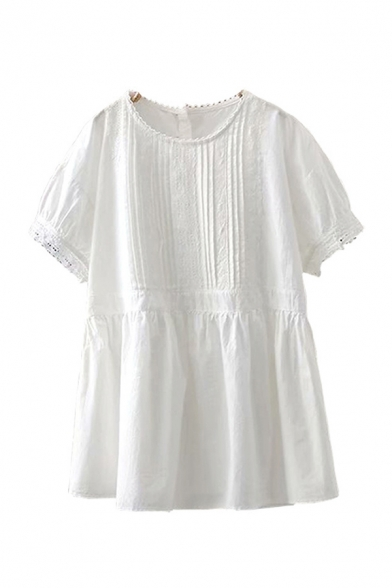 Cute Girls Button Decoration Pleated Lace Trim Short Sleeve Crew Neck Ruffle Trimmed Relaxed Shirt in White