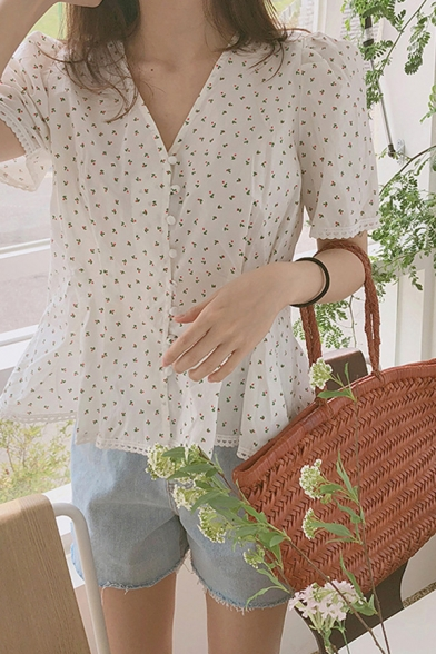 Fancy Ditsy Floral Printed Short Sleeve V-neck Button up Ruffled Loose Shirt in White