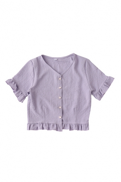 Fancy Girls Solid Color Ruffle Trim Button Down V Neck Short Sleeve Regular Fit Cropped Blouse