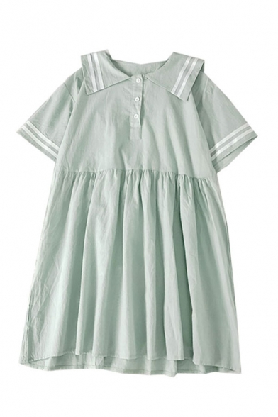 Hot Summer Button Pleated Contrasted Striped Sailor Collar Short Sleeve Midi Smock Dress for Girls