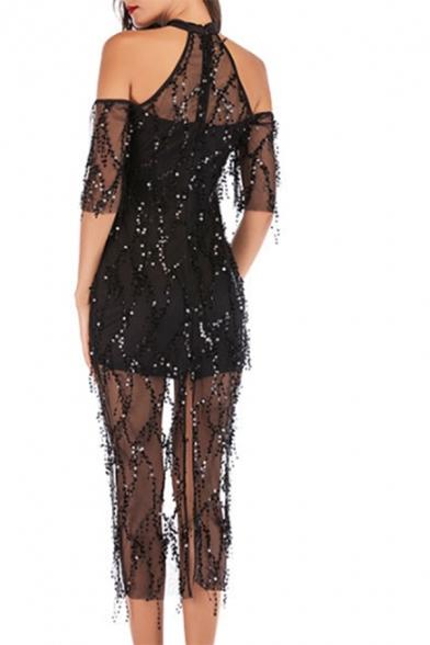 Ladies Amazing See-through Mesh Sequins Short Sleeve Cold Shoulder Slit Back Mid Sheath Dress