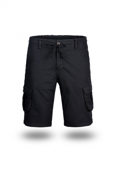 Mens Simple Solid Color Drawstring Waist Pockets Knee Length Regular Fitted Cargo Shorts