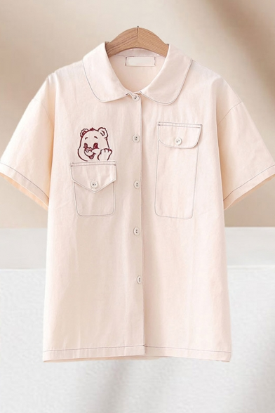 Popular Girls Bear Embroidered Contrast Stitch Short Sleevev Turn down Collar Button up Flap Pockets Relaxed Fit Shirt Top in Beige