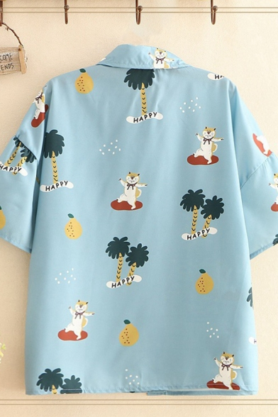 Pretty Girls Allover Mixed Cartoon Printed Chest Pocket Short Sleeve Point Collar Button up Loose Shirt in Blue