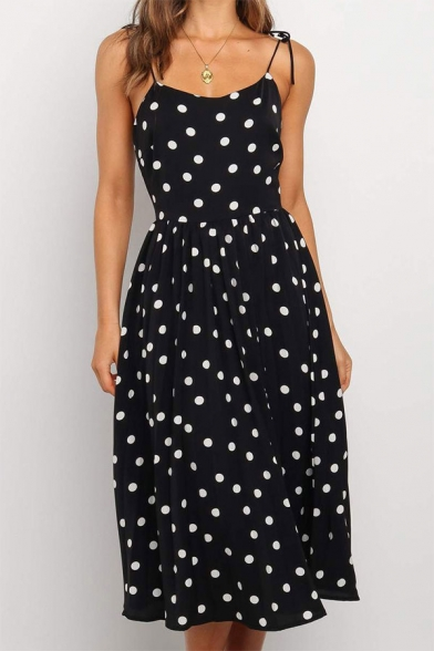 Pretty Girls Polka Dot Printed Bow Tied Shoulder Mid Pleated A-line Cami Dress