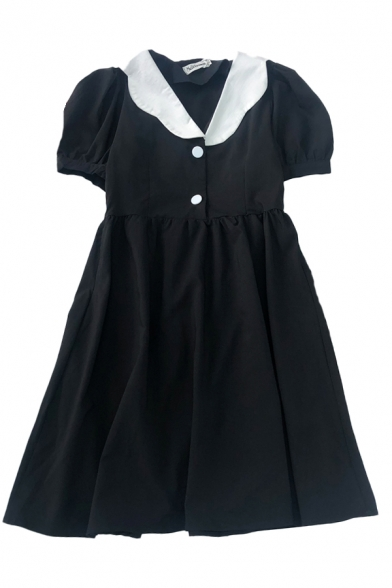 Simple Summer Button Pleated Patchwork Lapel Neck Short Puff Sleeve Midi Plus Size Dress for Womens