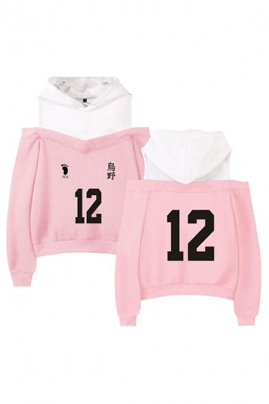 Sportswear Girls Number 9 Footprint Graphic Colorblock Patchwork Long Sleeve Cold Shoulder Loose-fit Hoodie