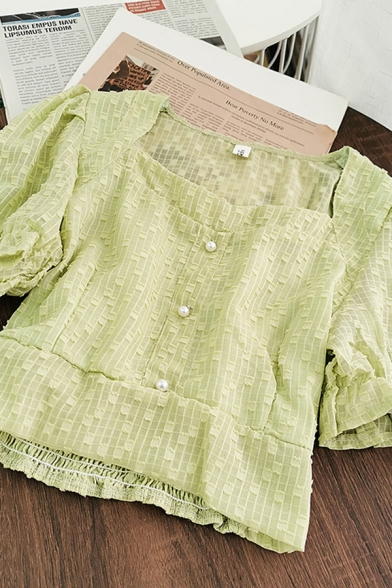 Stylish Womens Solid Color Puff Sleeve Square Neck Pearl Button up Slim Fit Cropped Blouse