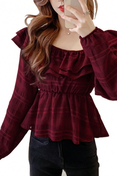 Trendy Solid Color Chiffon Ruffled Trim Gathered Waist Long Sleeve Round Neck Regular Fit Blouse Top for Women