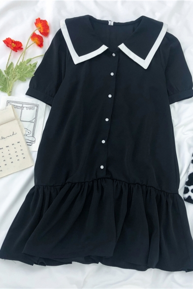 Vintage Girls Color Block Printed Button Down Ruffle Cuff Sailor Collar Short Puff Sleeve Midi Smock Dress