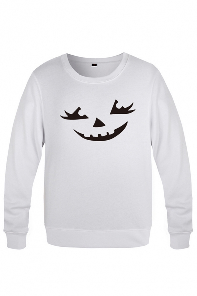 Chic Mens Devil Face Pattern Pullover Long Sleeve Round Neck Fitted Sweatshirt