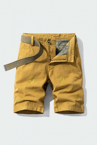 Cool Men's Shorts Embroidered Zip Fly Button Detail Straight Fit Knee-length Chino Shorts with Pocket