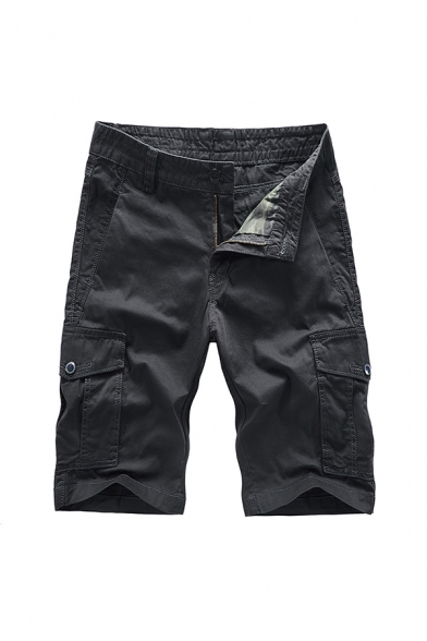 Cool Shorts Plain Zip-fly Button Flap Pocket Knee Length Straight Fit Cargo Shorts for Men