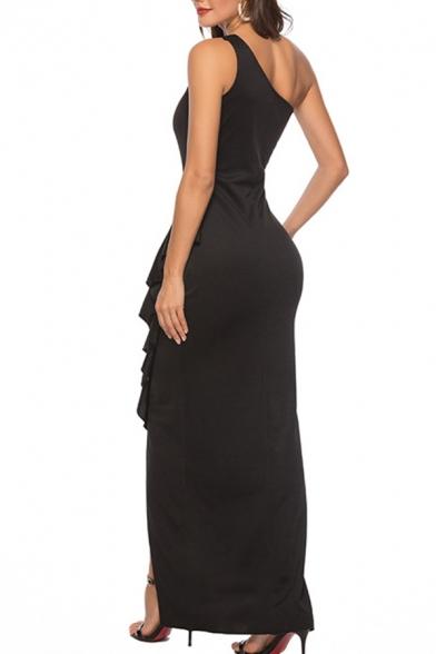 Elegant Womens One Shoulder Ruffled Slit Side Long Shift Tank Dress in Black