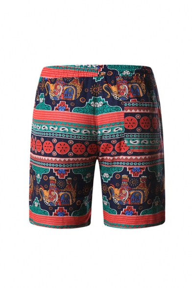 Leisure Mens Floral Pattern Drawstring over the Knee Straight Fit Cotton and Linen Shorts