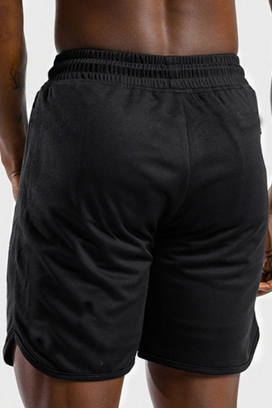 Mens Simple Solid Color Drawstring Contrasted Trim Slim Fit Shorts