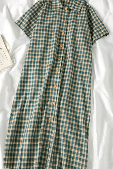 Novelty Womens Plaid Button Down Short Sleeve Collared Midi Tee Shirt Dress
