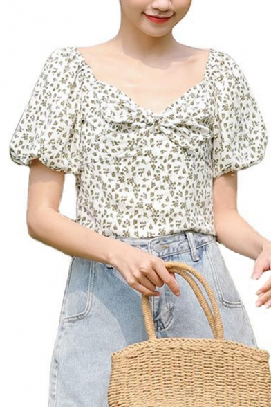Pretty Ditsy Floral Printed Puff Sleeve V-neck Ruched Fitted Crop Blouse Top in White