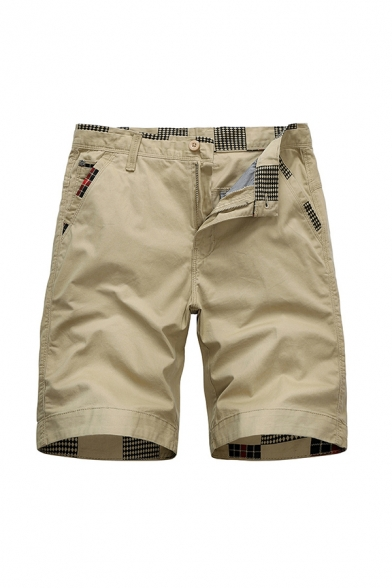 Retro Mens Shorts Plaid Pattern Zip Fly Button Detail Knee Length Straight Fit Chino Shorts with Pockets